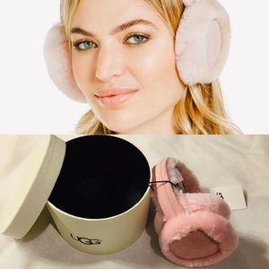 ugg sheepskin suede light pink earmuffs